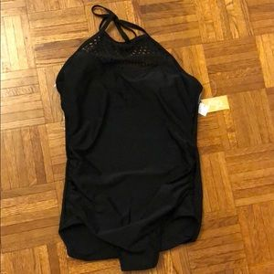 Kona Sol laser cut high neck swimsuit- long torso